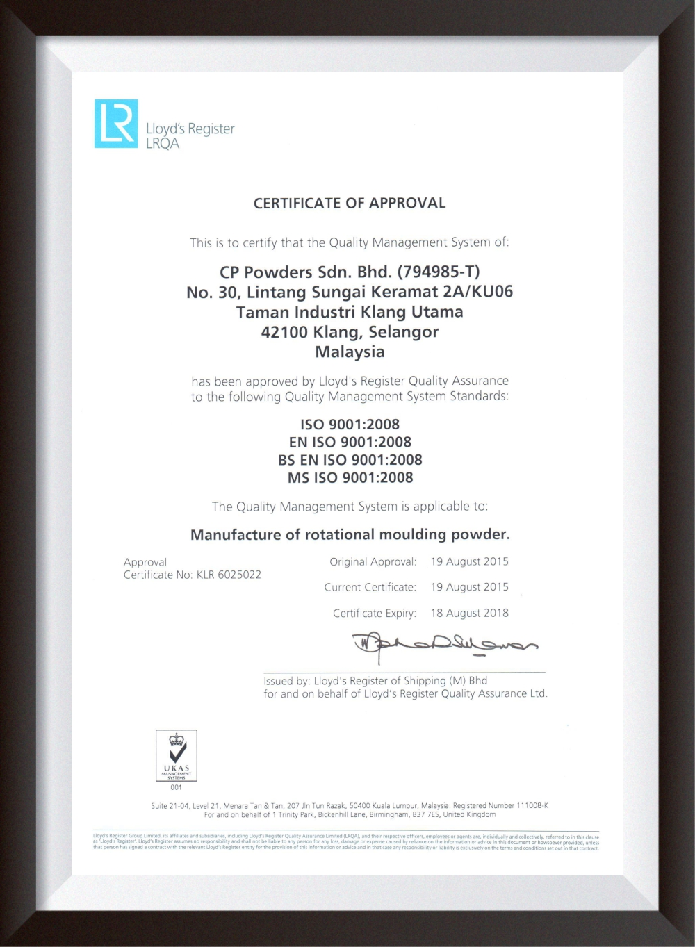 Cp Powders Sdn Bhd Iso Certification